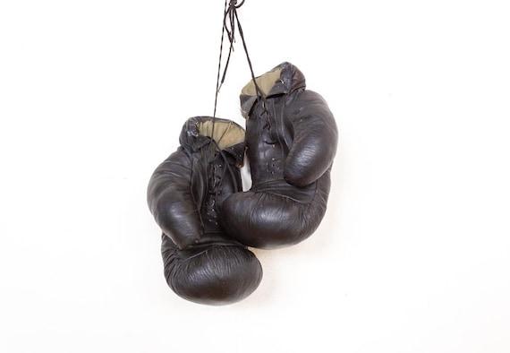 Old decorative  black old leather vintage boxing g