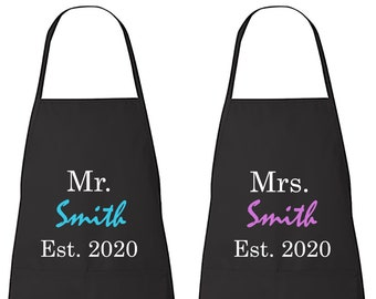 Set of 2 Custom Apron      His and Hers Aprons   Personalized   Matching Couples   Mr. & Mrs. Apron Set   Apron   Gift   Kitchen