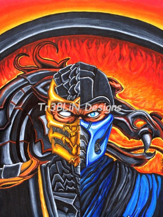 Scorpion Sub Zero Mortal Kombat Drawing Etsy