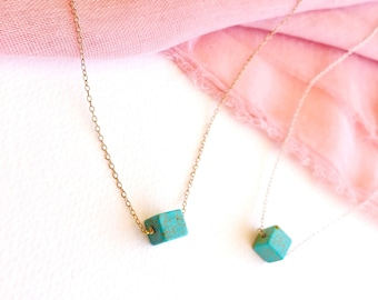 Howlite Turquoise Bead Pendant-Silver 925 Chain-Blue Stone-Cube Necklace-Square Pendant-Cube Bead-Bead Necklace-Everyday Necklace- Layering