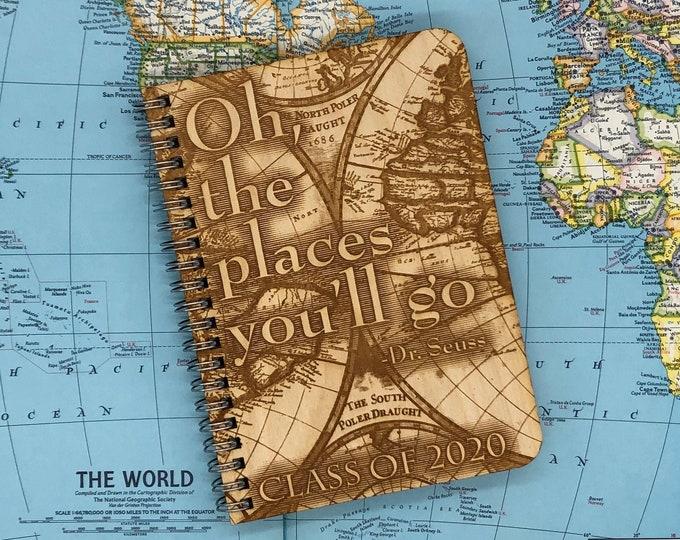 wood cover journal, graduation journal, adventure journal, gratitute journal, travel journal, wood journal, engraved journal, J111