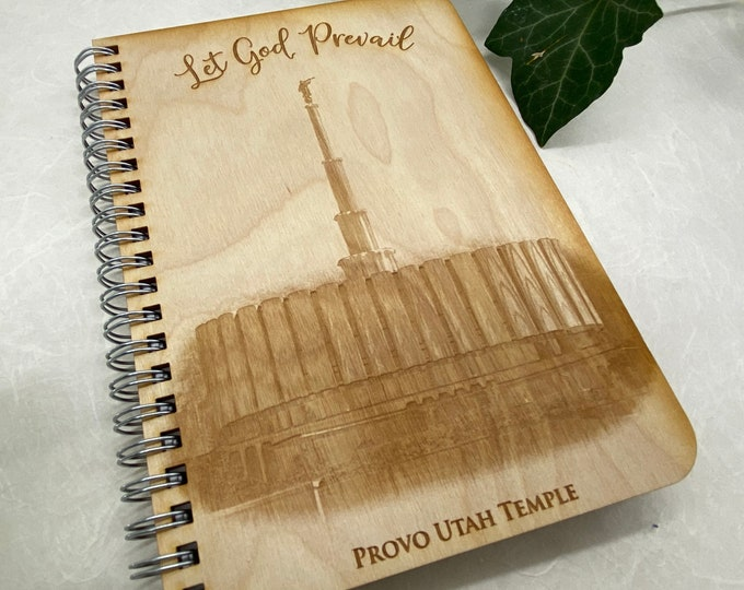 wood cover journal, Provo Temple journal, gratitude journal, travel journal, wood journal, engraved journal, temple journal, WJ026