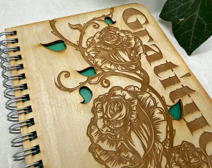 gratitude journal, rose journal, adventure journal, travel journal, wood journal, engraved journal, floral journal, WJ008