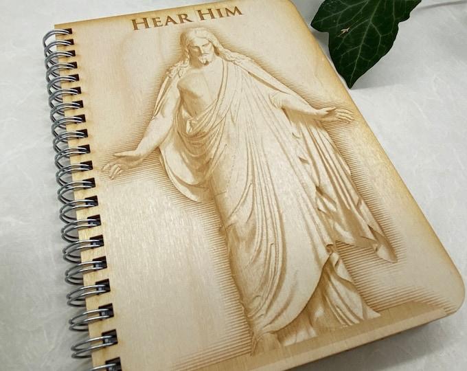 wood cover journal, Hear Him journal, gratitude journal, travel journal, wood journal, engraved journal, Christus journal, WJ027