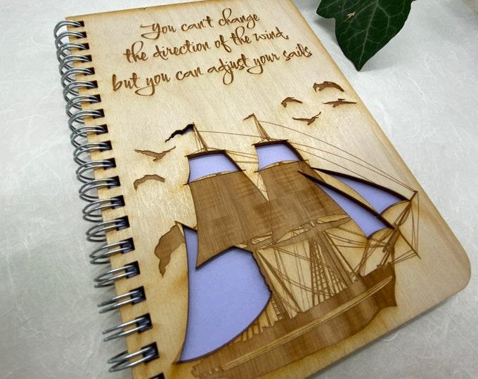 sailing journal, adventure journal, gratitude journal, travel journal, wood journal, engraved journal, WJ004