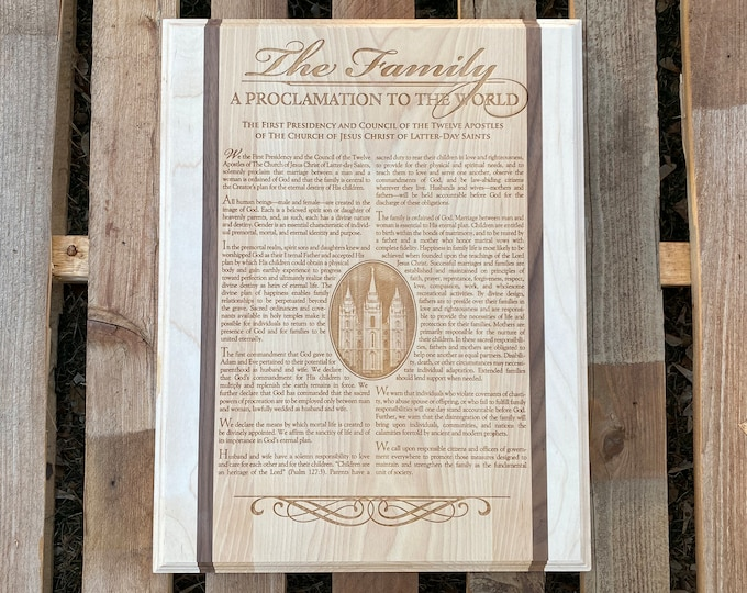 Proclamation to the World, The Family Proclamation, Proclamation, wood engraved Proclamation, Proclamation plaque, 12x18, WP010
