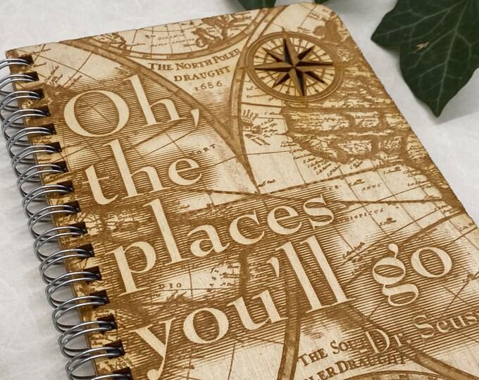 gratitude journal, Dr Seuss journal, adventure journal, travel journal, wood journal, engraved journal, adventure is waiting journal, WJ016