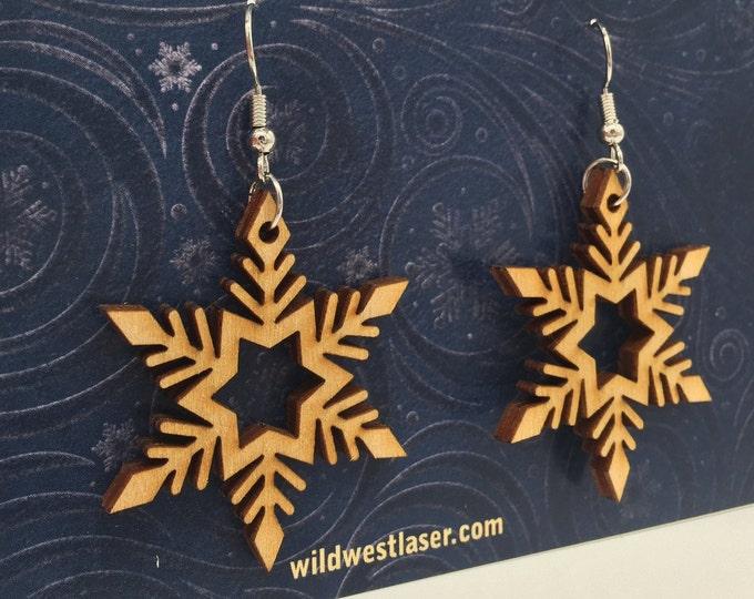 snowflake earrings, Christmas earrings, winter earrings, wood earrings, laser cut earrings, winter jewelry, E129