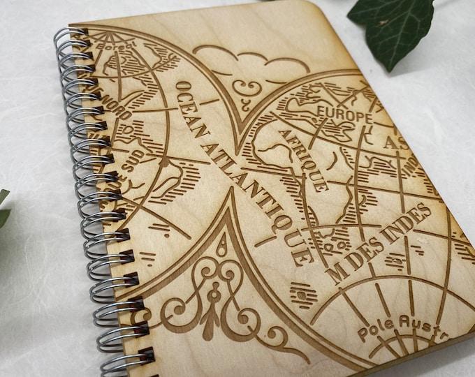 wood cover journal, adventure journal, gratitude journal, travel journal, wood journal, engraved journal, Europe journal, WJ001
