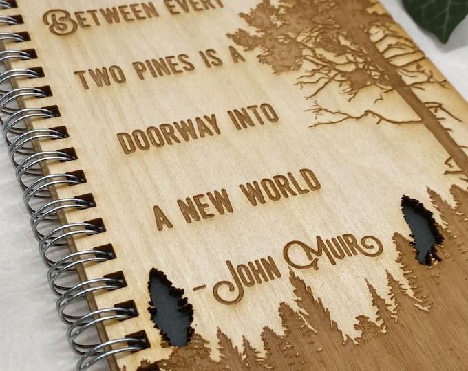 wood cover journal, adventure journal, gratitude journal, travel journal, wood journal, engraved journal, John Muir journal, WJ009
