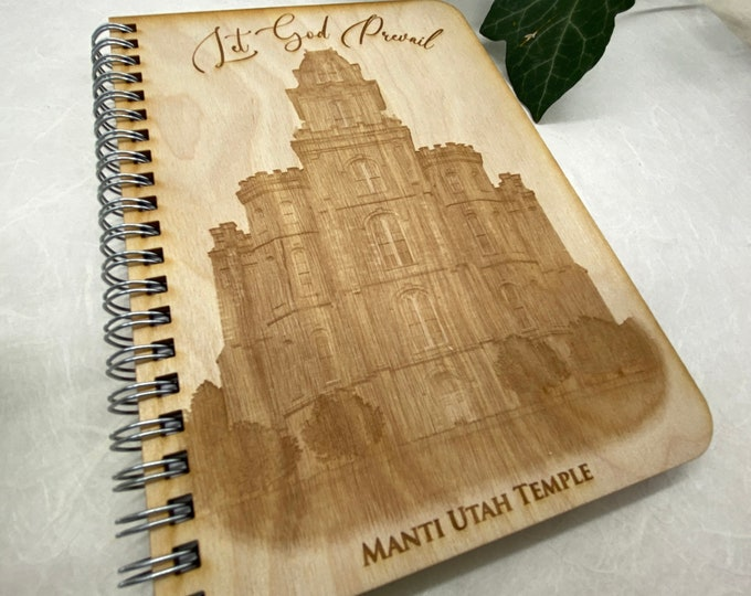 wood cover journal, Manti Temple journal, gratitude journal, travel journal, wood journal, engraved journal, temple journal, WJ025