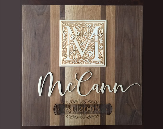 wood laser family sign, wood name plaque, name plaque for wall, family name plaque, family name sign, P003