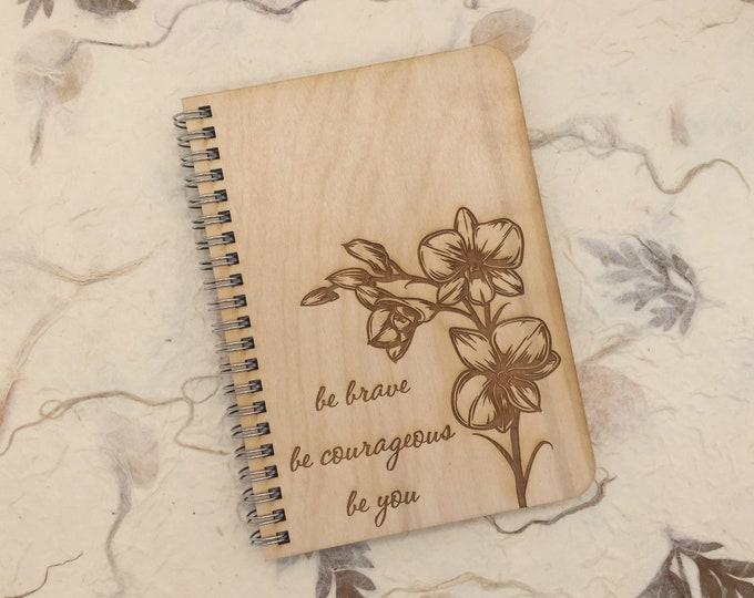 wood cover journal, adventure journal, gratitute journal, travel journal, engraved journal, bravery journal, courage journal, J111