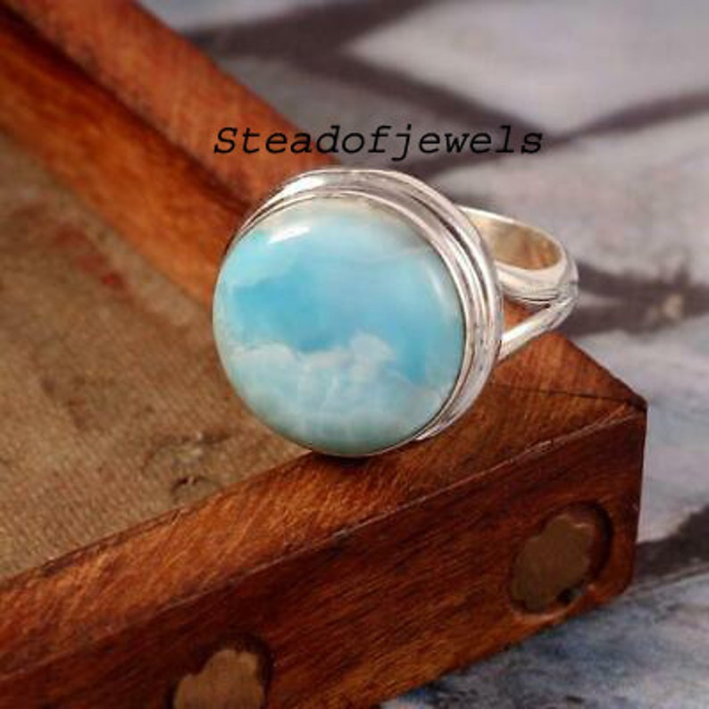 Natural Larimar Gemstone Ring,Designer Ring,Round Shape Ring,So,925 Sterling Silver Boho Ring,GIft For Love,Silver Jewelry For Easter Ring
