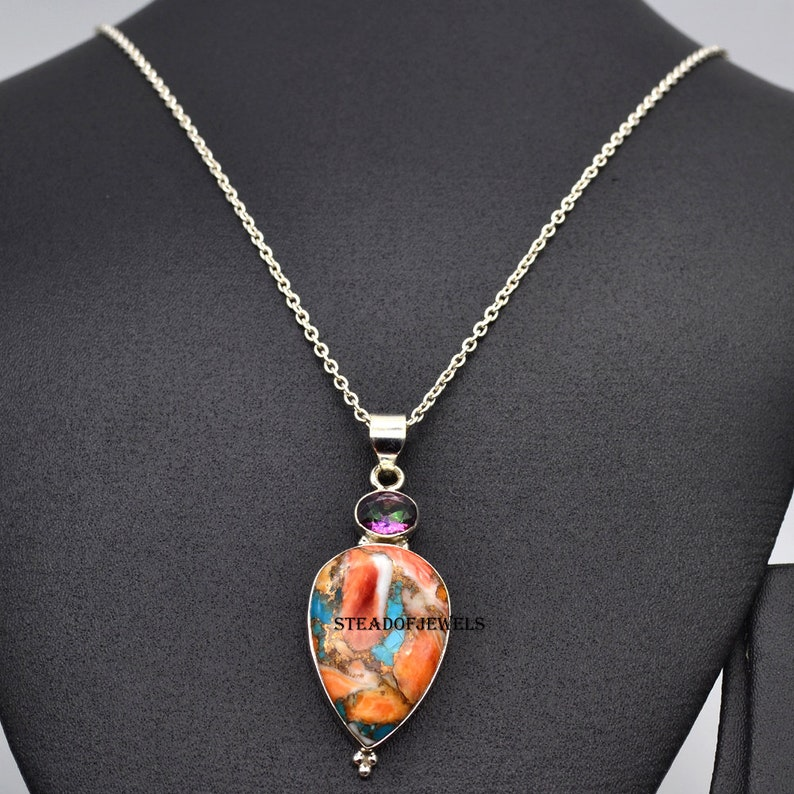 Copper Turquoise And Topaz Silver Necklace 925-Sterling Solid Multi Stone Silver Jewelry For Women/'s Silver Jewelry Gems Teardrop Necklace