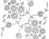 Vintage style retro iron on embroidery transfer- daisy flower corners