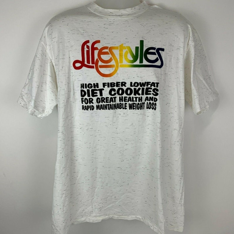 Vintage LifeStyles Diet Cookies XL X-Large T Shirt Weight Loss Health Gray Tee