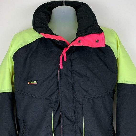 columbia radial sleeve pullover windbreaker jacket adult small 90s purple green neon hooded lightweight coat rare mens vintage clothing
