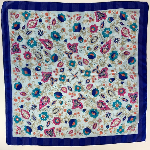 Silken by Berkshire Polyester Italy Made Blue Flor