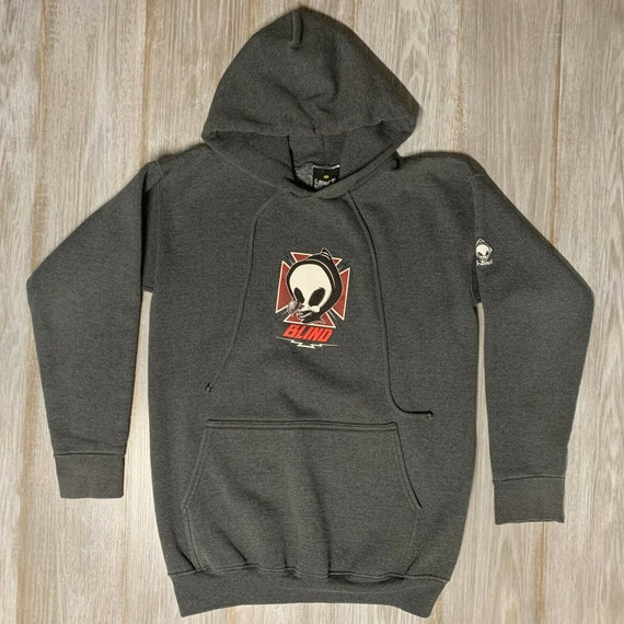 Vintage 90s Blind Skateboards Gray Hoodie Tony Haw