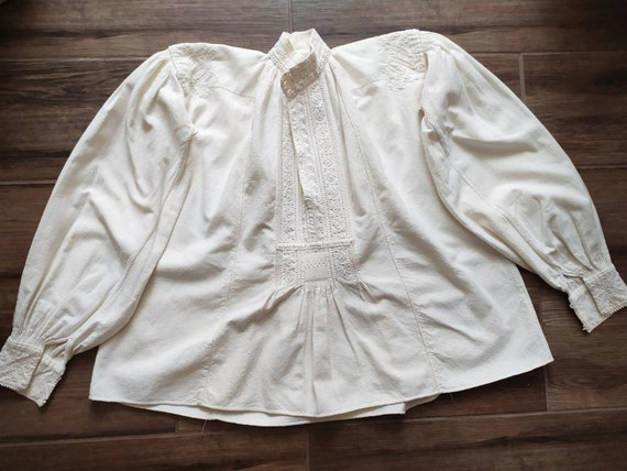 Antique white on white embroidered floral Romanian