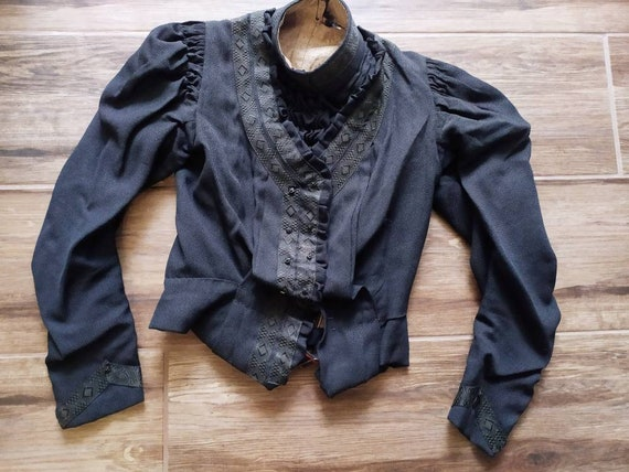 Antique 1900 Edwardian or Victorian black bodice l