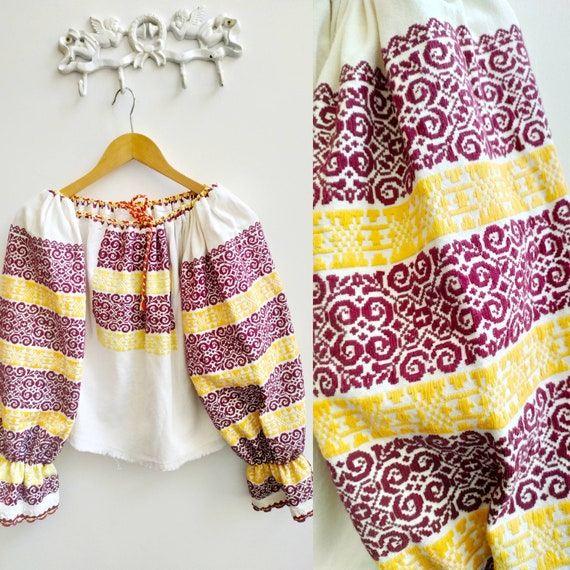 Vintage linen heavily embroidered Romanian blouse