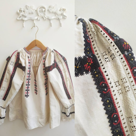 Rare antique Hungarian embroidered blouse