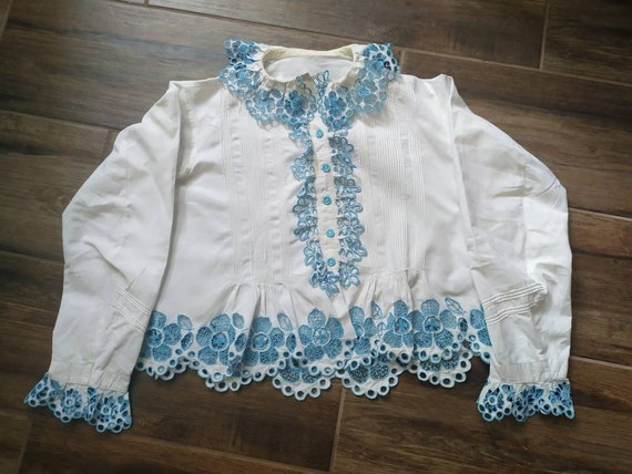 Antique cotton  Hungarian peasant blouse with embr