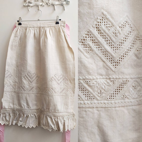 Antique Romanian linen folk apron