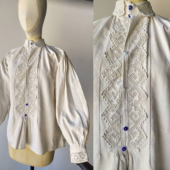 Antique Romanian linen blouse with embroidery and