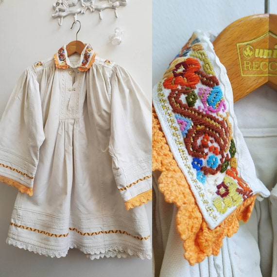 Vintage 1950 Romanian folklore cotton embroidered