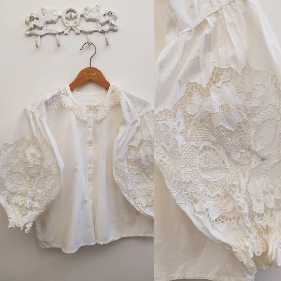 Vintage Hungarian blouse with floral embroidery an