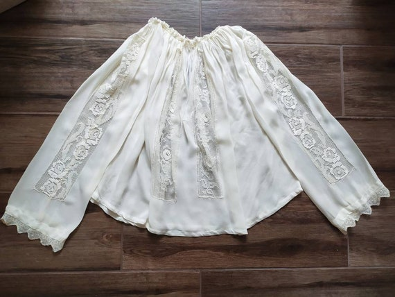 Vintage sheer Romanian blouse with crocheted lace