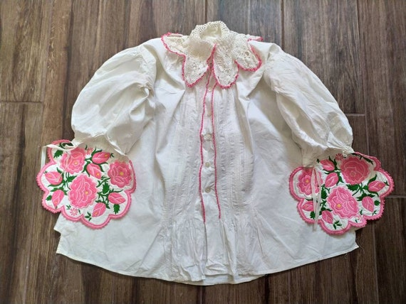 Hand embroidered Hungarian floral blouse