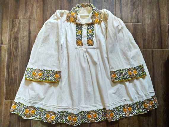 Antique Romanian blouse with floral embroidery