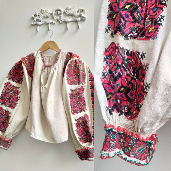 Antique Romanian blouse embroidered