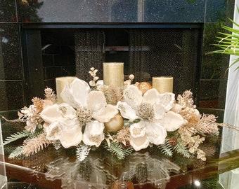 Christmas Centerpiece, Christmas floral arrangement, Christmas magnolias, large centerpiece, Christmas decor, white floral centerpiece,