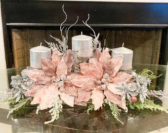 Christmas centerpiece, pink floral arrangement, pink Christmas decor, pink Christmas centerpiece for table, large pink floral arrangement