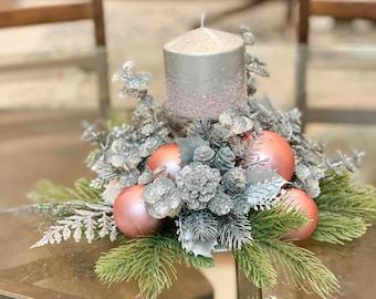 Pink Christmas centerpiece, pink Christmas decor, pink Christmas candles, pink Christmas floral arrangement, Christmas table decor,gift idea