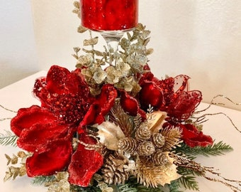 Christmas centerpiece, Red Christmas Centerpiece, Red Magnolia centerpiece, Christmas decor, Christmas candle holder, Red Centerpiece,