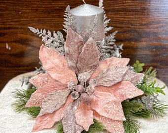 Christmas centerpiece, pink floral arrangement, pink Christmas decor, pink Christmas centerpiece for table, pink poinsettia, Christmas gift