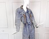 80s Vintage ACID WASH Denim JUMPSUIT Leather Lace Up 1980s
