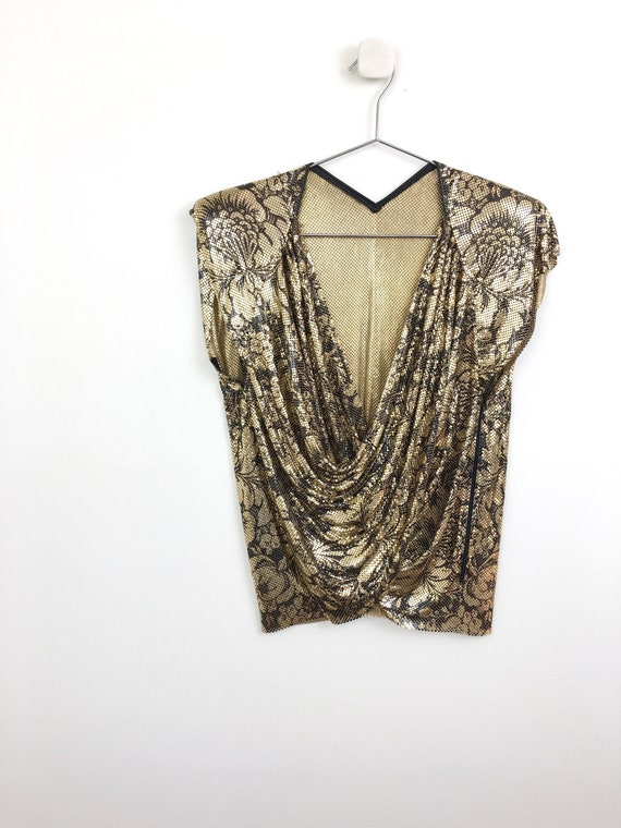 80s Vintage WHITING & DAVIS Gold and Black Floral