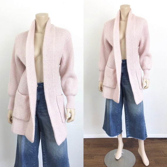 1980s Vintage PALE PINK RIBBED Long Sweater Coat