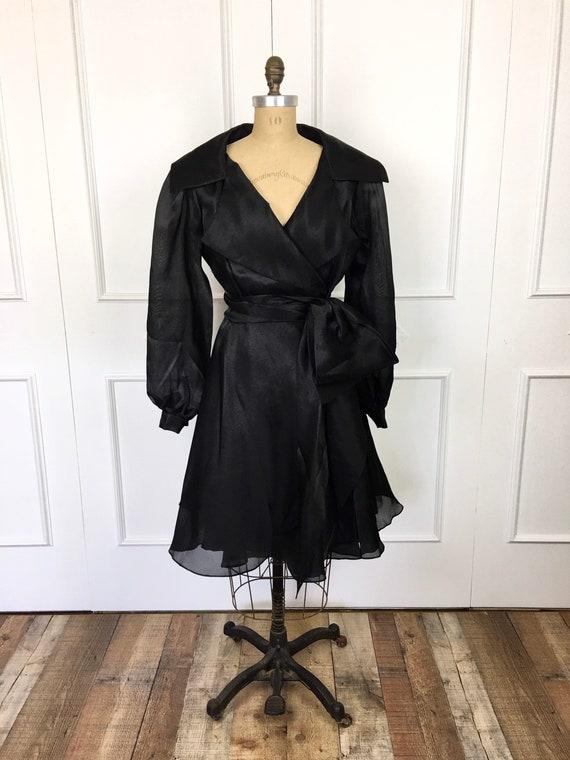 80s Vintage RUFFLED Black COAT DRESS Victor Costa