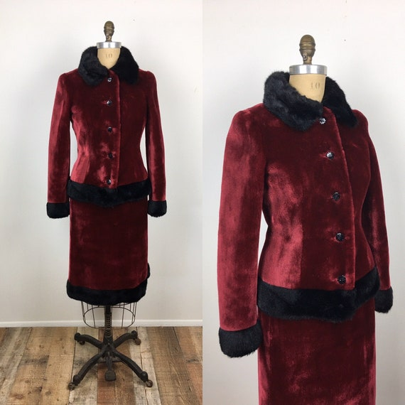 60s Vintage GIVENCHY Red & Black FAUX FUR Skirt Su