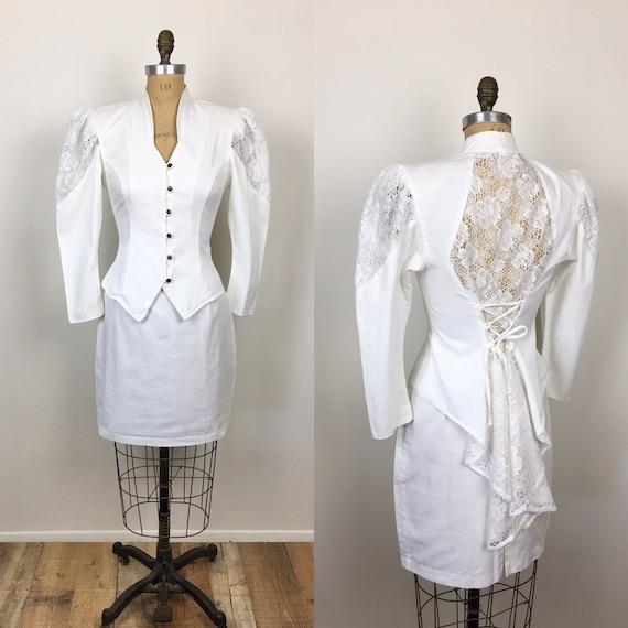 80s Vintage WHITE WEDDING Sheer Lace CORSET Lace U