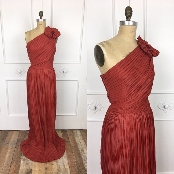 1980s Vintage JEAN VARON PLEATED One Shoulder Maxi
