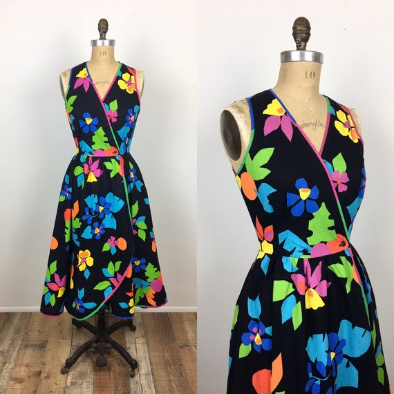 80s Vintage TROPICAL FLORAL Print NEON Cotton Sund